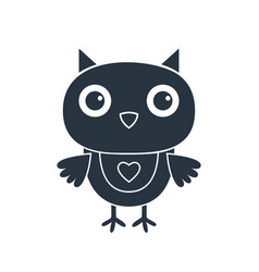 Cute cartoon owl isolated on white silhouette vector