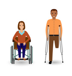 Disability people concept invalid woman in vector
