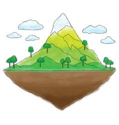 floating island mountain doodle vector image vector image