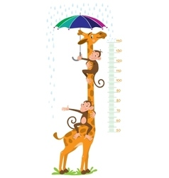 Giraffe and monkeys meter wall or height chart vector