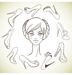 Girl and shoes Sketch style vector image
