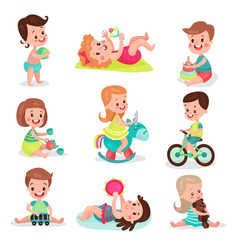 happy little boys and girls playing with toys set vector image vector image