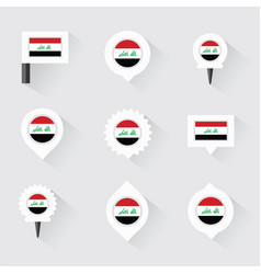 Iraq flag and pins for infographic and map design vector