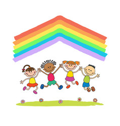 kids jumping with joy on a hill under rainbow vector image vector image