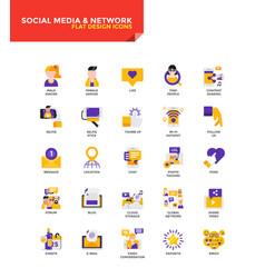 modern material flat design icons - social media vector image vector image