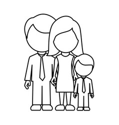 Monochrome contour faceless with dad mom and son vector