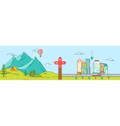 Mountains and City Travel concept vector image vector image