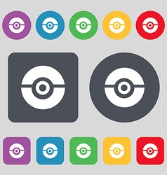 Pokeball icon sign a set of 12 colored buttons vector