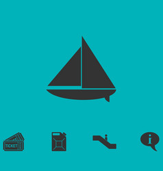 Sailing boat icon flat vector