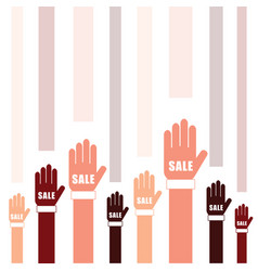 sale on hands set in two color vector image vector image