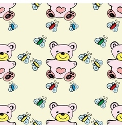 Seamless pattern cute bear and butterfly vector image vector image