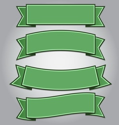 Set of green ribbon banners vector image vector image