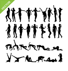 Sexy women and dancing silhouettes set 14 vector image vector image