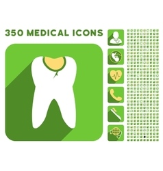 Tooth caries icon and medical longshadow icon set vector