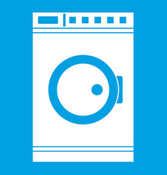 Washing machine icon white vector