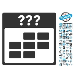 Unknown calendar month flat icon with bonus vector
