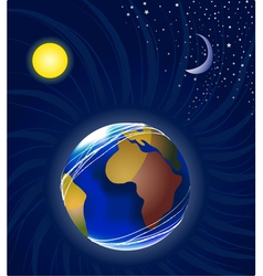 Moon earth and sun vector