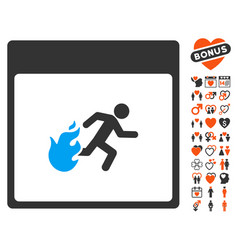 Fire evacuation man calendar page icon with love vector