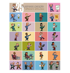 large set of businessman character vector image