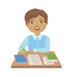 elementary school student writing at school a vector image