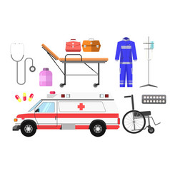 Ambulance car wheelchair gurney wheeled vector