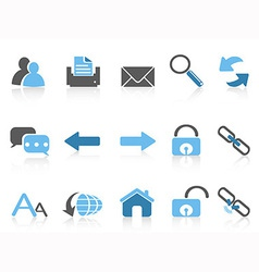 web navigation icons blue series vector image