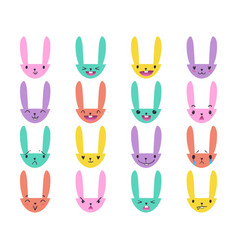 Rabbit handdrawn emoticons color 4 vector