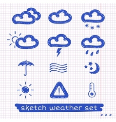 Weather sketch set vector