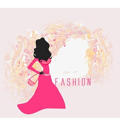 Abstract fashion girl shopping - vector