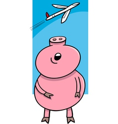 Piglet looking at plane cartoon vector