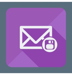 Mail icon envelope with floppy disk Flat design vector image