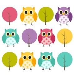 Ow and treel pattern background vector