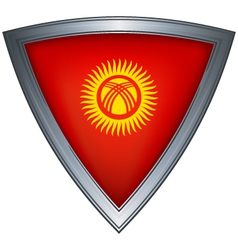 Steel shield with flag kyrgyzstan vector