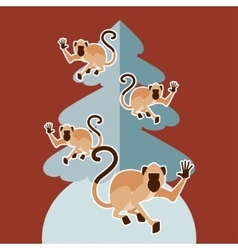 Monkeys and the fir tree vector