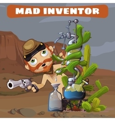 Crazy cowboy in the desert with their inventions vector