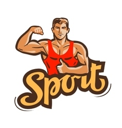 Sport logo gym fitness or bodybuilding vector