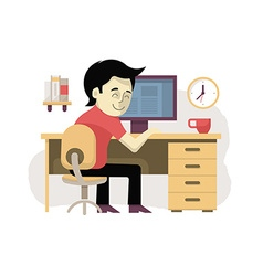 Freelancer at his workplace vector