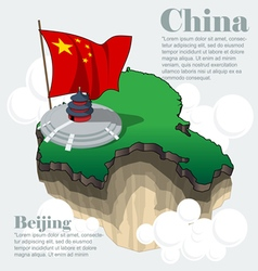 China country infographic map in 3d vector