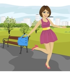Young woman with handbag having fun vector