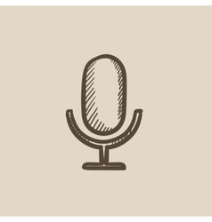 Retro microphone sketch icon vector image