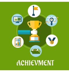 Business achievment and success flat icons vector