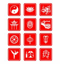 Chinese culture icons vector image vector image