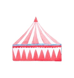 Circus tent watercolor red and white tent on the vector