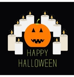 Cute funny pumpkin Candle pyramid Halloween card vector image vector image
