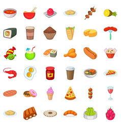 Delicious meal icons set cartoon style vector