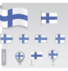 Finland icon set of flags vector image vector image