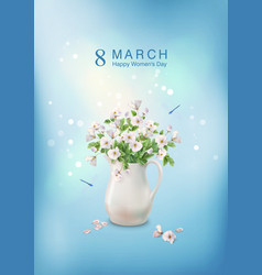 flowers in ceramic jug vector image