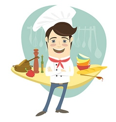 Funny chef standing with his arms folded in the vector