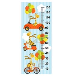 giraffe flies sky on bicycle car scooter vector image vector image