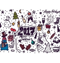 Hand-drawn christmas sketchy notebook doodles- vector